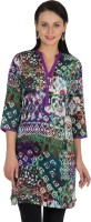 Sohniye Women's Graphic Print Straight Kurta(Purple, Green)