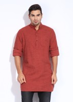 The Indian Garage Co. Checkered Men's Straight Kurta(Orange)