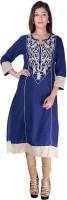 Kyaara Embroidered Womens Straight Kurta(Blue)
