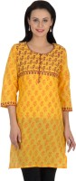Sohniye Women's Graphic Print Straight Kurta(Yellow)