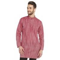 Bhartiya Paridhan Men's Striped Straight Kurta(Red)