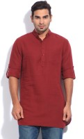 The Indian Garage Co. Solid Men's Straight Kurta(Red)