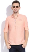 The Indian Garage Co. Solid Men's Straight Kurta(Pink)