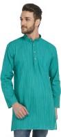 Bhartiya Paridhan Men's Striped Straight Kurta(Green)