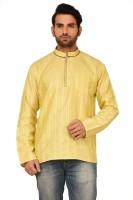 Rene Men's Woven Straight Kurta(Yellow)