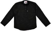 Little Man Boys Solid Casual Black Shirt