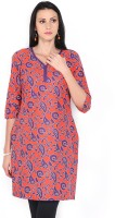 Aurelia Printed Women's A-line Kurta(Orange, Purple)