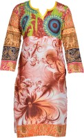 Rainbow Hues Women Floral Print Straight Kurta(Multicolor)
