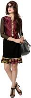 Jiya Women Self Design, Embroidered Straight Kurta(Multicolor, Black)