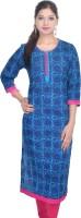 Shop Rajasthan Casual Printed Women's Kurti(Blue)