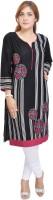 Shop Rajasthan Casual Printed Women's Kurti(Black, White)