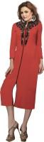 Jiya Women Self Design, Embroidered, Embellished Frontslit Kurta(Red)
