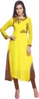 Jiya Casual Self Design, Embroidered Women's Kurti(Yellow, Brown)