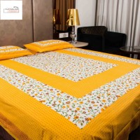 clothology 144 TC Cotton Double Printed Bedsheet(Pack of 1, White, Yellow)