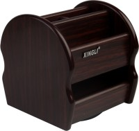 XINGLI 6 Compartments Wooden Stationery Holder(Brown)