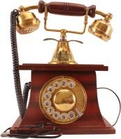 View IndianArtVilla Wooden Brass Old Vintage Design Rotary Dial Corded Landline Phone(Brown, Gold) Home Appliances Price Online(IndianArtVilla)