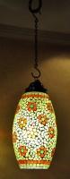 Lal Haveli Home Decorative Hanging Light Pendant Ceiling Lamp Green Glass Lantern(38 cm X 18 cm, Pack of 1)