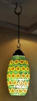 Lal Haveli Home Decoration Pendant Ceiling Light Hanging Lamp Multicolor Glass Lantern(38 cm X 18 cm, Pack of 1)