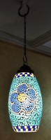 Lal Haveli Home Decorative Hanging Light Pendant Ceiling Lamp Blue Glass Lantern(38 cm X 18 cm, Pack of 1)