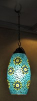 Lal Haveli Home Decorative Hanging Light Pendant Ceiling Lamp Blue Glass Table Lantern(38 cm X 18 cm, Pack of 1)