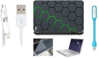 View Print Shapes Green Hexagons Laptop Skin with Screen Guard ,Key Guard,Usb led and Charging Data Cable Combo Set(Multicolor) Laptop Accessories Price Online(Print Shapes)