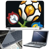 FineArts Fooball Flower 3 in 1 Laptop Skin Pack With Screen Guard & Key Protector Combo Set(Multicolor)