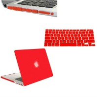 Shrih 13-Inch Rubberized Hard Case, Silicone Keyboard Guard And Anti dust Ports With Retina Display Shell Combo Set(Red)