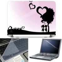 FineArts Sweet Cute Love 3 in 1 Laptop Skin Pack With Screen Guard & Key Protector Combo Set(Multicolor)