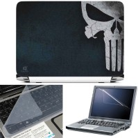 FineArts Skull Half 3 in 1 Laptop Skin Pack With Screen Guard & Key Protector Combo Set(Multicolor)