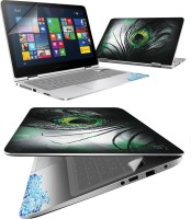FineArts Black Feather 4 in 1 Laptop Skin Pack with Screen Guard, Key Protector and Palmrest Skin Combo Set(Multicolor)