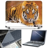 FineArts Tiger in Snow 3 in 1 Laptop Skin Pack With Screen Guard & Key Protector Combo Set(Multicolor)