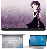 FineArts Girl With Long Hair 4 in 1 Laptop Skin Pack with Screen Guard, Key Protector and Palmrest Skin Combo Set(Multicolor)