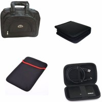 View De-techinn Combo Of 4 In 1 Laptop Bag,Hard disk bag, Laptop Sleeves With 40 cd storage Bag Combo Set(Black, Multi Colour) Laptop Accessories Price Online(De-TechInn)