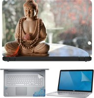 FineArts Buddha on Table 4 in 1 Laptop Skin Pack with Screen Guard, Key Protector and Palmrest Skin Combo Set(Multicolor)