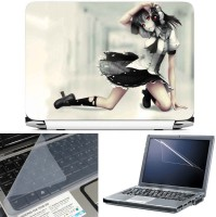 FineArts Anime Camera Girl 3 in 1 Laptop Skin Pack With Screen Guard & Key Protector Combo Set(Multicolor)
