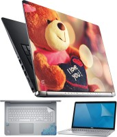 FineArts Lovable Teddy 4 in 1 Laptop Skin Pack with Screen Guard, Key Protector and Palmrest Skin Combo Set(Multicolor)