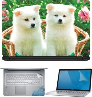 FineArts Two Puppy on Chair 4 in 1 Laptop Skin Pack with Screen Guard, Key Protector and Palmrest Skin Combo Set(Multicolor)