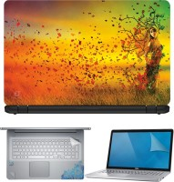 FineArts Lady Grass Hair 4 in 1 Laptop Skin Pack with Screen Guard, Key Protector and Palmrest Skin Combo Set(Multicolor)
