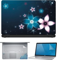 FineArts Glowing Flowers 4 in 1 Laptop Skin Pack with Screen Guard, Key Protector and Palmrest Skin Combo Set(Multicolor)