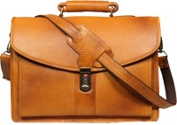 View Leatherworld 16 inch Laptop Messenger Bag(Orange) Laptop Accessories Price Online(Leatherworld)