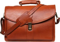 View Leatherworld 16 inch Laptop Messenger Bag(Tan) Laptop Accessories Price Online(Leatherworld)