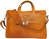 View Leather World 15 inch Laptop Messenger Bag(Orange) Laptop Accessories Price Online(Leather World)