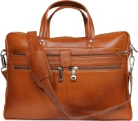 View Leatherworld 15 inch Laptop Messenger Bag(Tan) Laptop Accessories Price Online(Leatherworld)