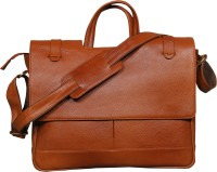 View Leather World 15 inch Laptop Messenger Bag(Tan) Laptop Accessories Price Online(Leather World)
