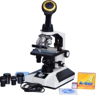 E.S.A.W Monocular Microscope With 3mp Cmos Camera And Wide Field Eye-Pieces And Brass Objectives And 50 Blank Slides+Coverslips(White)