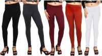 Comix Womens Black, Black, Maroon, Orange, White Leggings(Pack of 5)