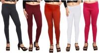 Comix Womens Black, Maroon, Orange, White, Pink Leggings(Pack of 5)