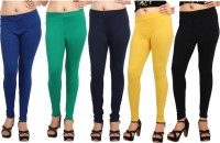 Comix Womens Blue, Green, Dark Blue, Yellow, Black Leggings(Pack of 5)