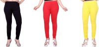 Fck-3 Women's White, Red, Yellow Leggings(Pack of 3)