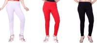 Fck-3 Women's White, Red, Black Leggings(Pack of 3)